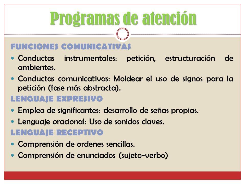Programas de atención Objetivo principal: Objetivo principal: Desarrollar iniciativa comunicativa iniciando por la expresión espontánea y funcional de
