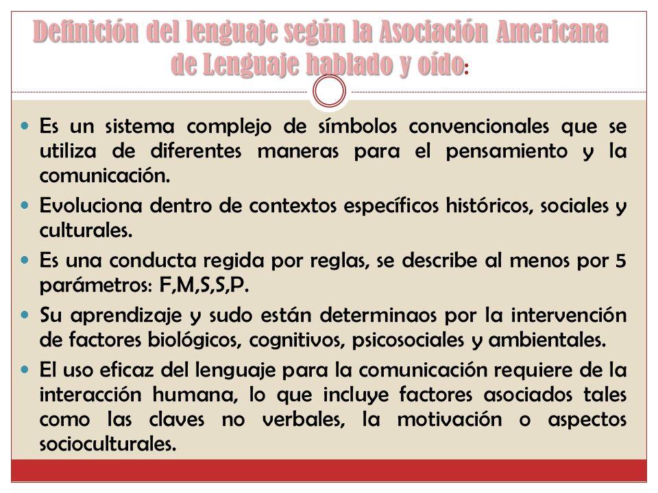 Definición del lenguaje según la Asociación Americana de Lenguaje hablado y oído Definición del lenguaje según la Asociación Americana de Lenguaje hablado y oído : Es un sistema complejo de símbolos convencionales que se utiliza de diferentes maneras para el pensamiento y la comunicación.