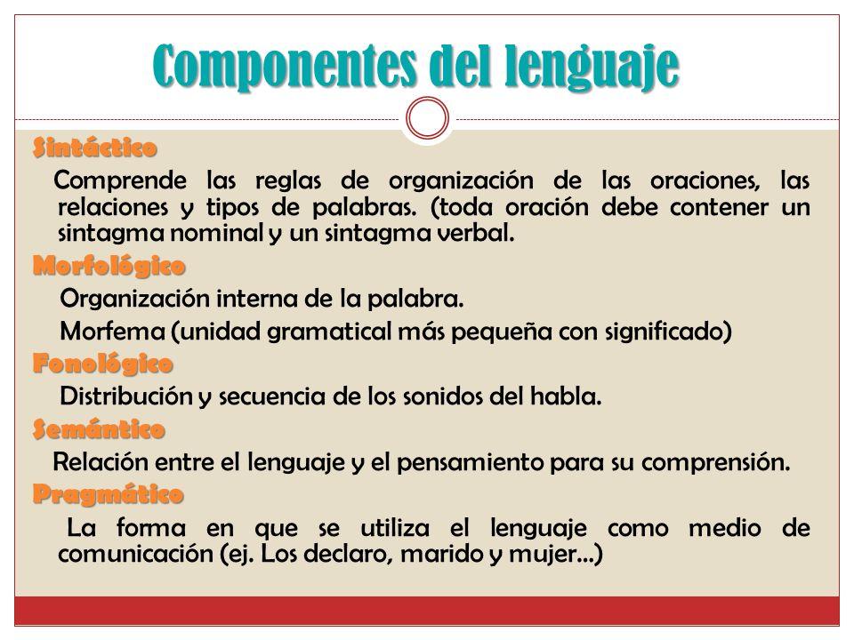 Componentes del lenguaje Sintáctico Comprende las reglas de organización de las oraciones, las relaciones y tipos de palabras.