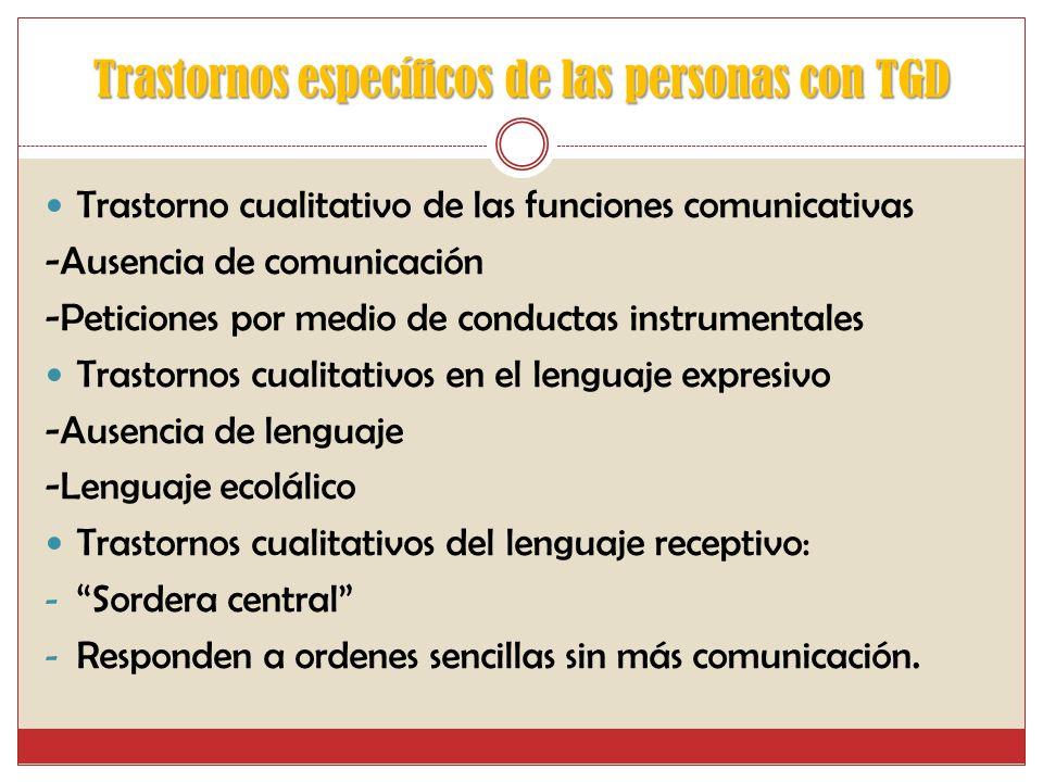 Trastornos específicos de las personas con TGD Trastorno cualitativo de las funciones comunicativas -Ausencia de comunicación -Peticiones por medio de conductas instrumentales Trastornos cualitativos en el lenguaje expresivo -Ausencia de lenguaje -Lenguaje ecolálico Trastornos cualitativos del lenguaje receptivo: - Sordera central - Responden a ordenes sencillas sin más comunicación.
