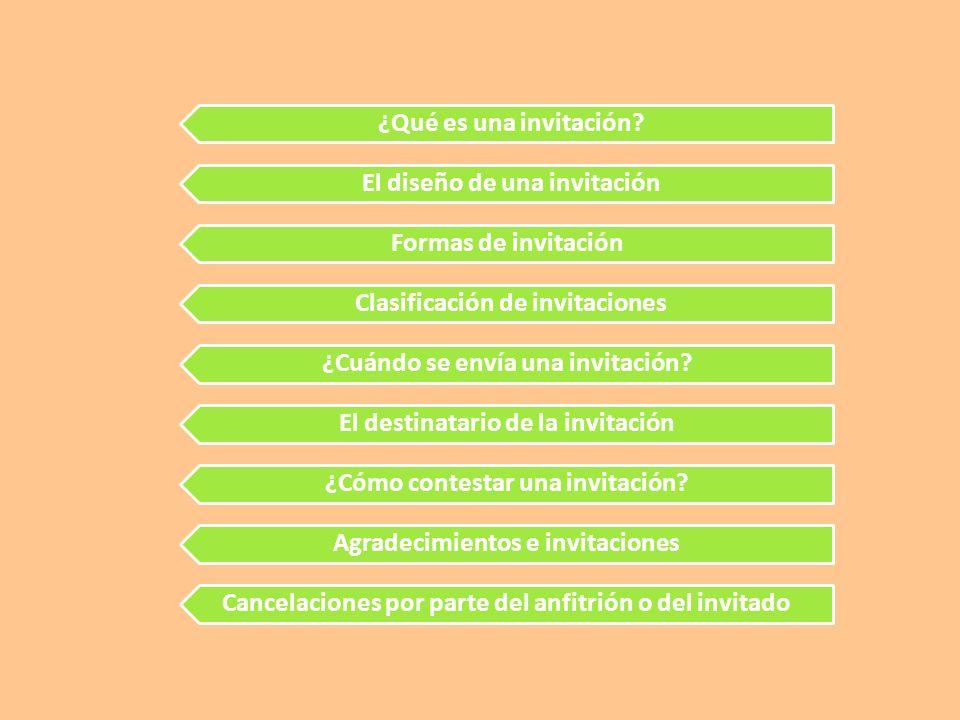 ¿Qué es una invitación? El diseño de una invitación Formas de invitación Clasificación de invitaciones ¿Cuándo se envía una invitación? El destinatari