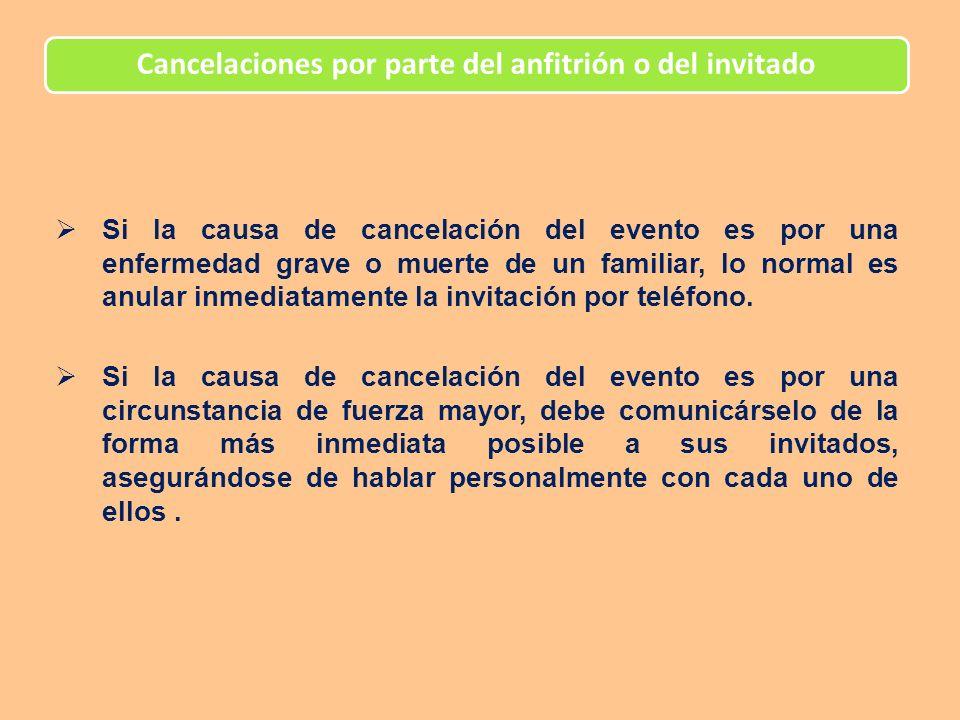 Cancelaciones por parte del anfitrión o del invitado Si la causa de cancelación del evento es por una enfermedad grave o muerte de un familiar, lo nor