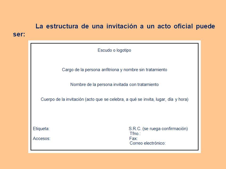 Formas de invitación La invitación puede realizarse utilizando diversos medios según la importancia del evento, bien a través de una llamada telefónica o un correo electrónico si se trata de un evento informal, o bien, a través de una carta personalizada si se trata de un evento más formal.