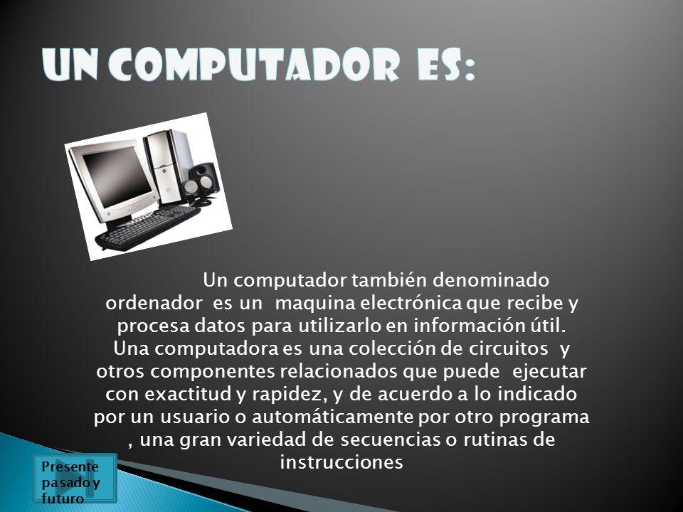 Un computador también denominado ordenador es un maquina electrónica que recibe y procesa datos para utilizarlo en información útil. Una computadora e