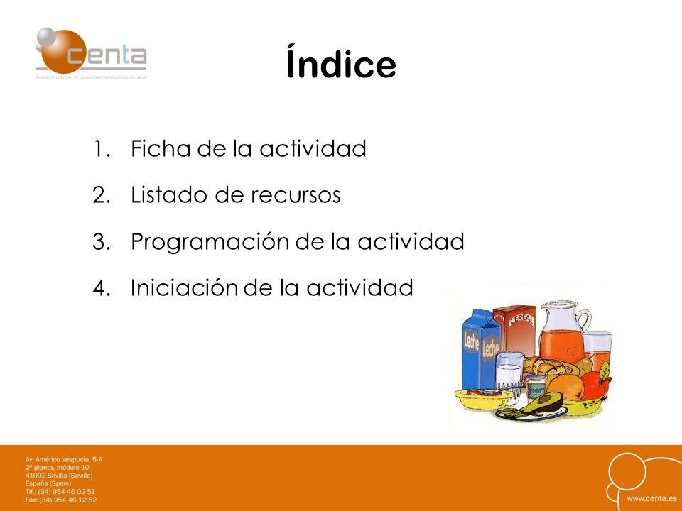 Índice 1.Ficha de la actividad 2.Listado de recursos 3.Programación de la actividad 4.Iniciación de la actividad