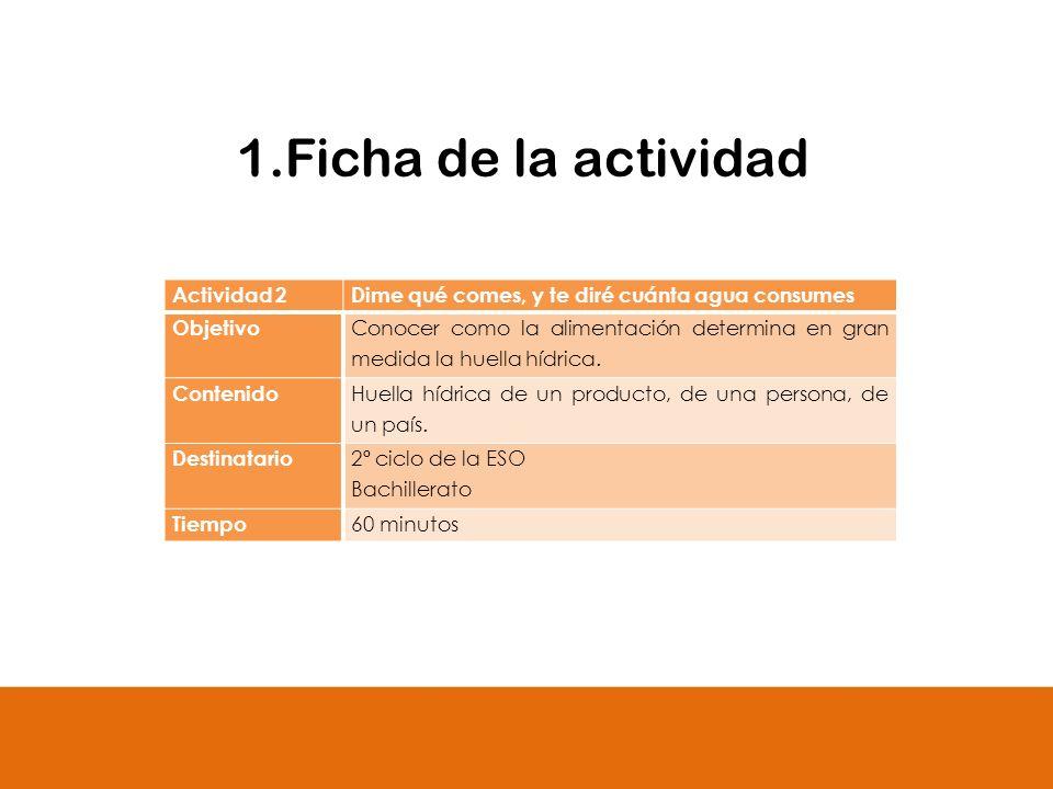 1.Ficha de la actividad Actividad 2Dime qué comes, y te diré cuánta agua consumes Objetivo Conocer como la alimentación determina en gran medida la hu