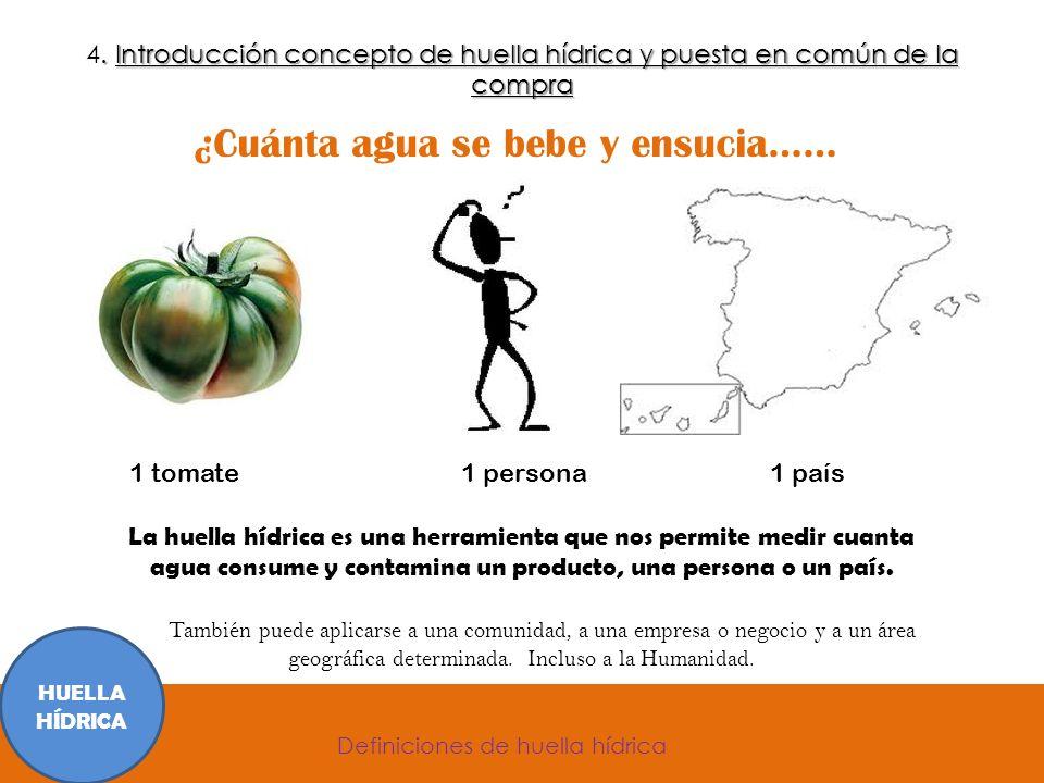 ¿Cuánta agua se bebe y ensucia…… 1 tomate 1 persona 1 país La huella hídrica es una herramienta que nos permite medir cuanta agua consume y contamina