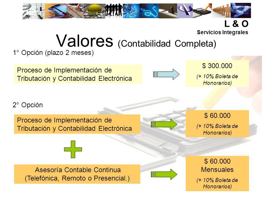 Valores (Contabilidad Completa) Proceso de Implementación de Tributación y Contabilidad Electrónica $ 60.000 Mensuales (+ 10% Boleta de Honorarios) As