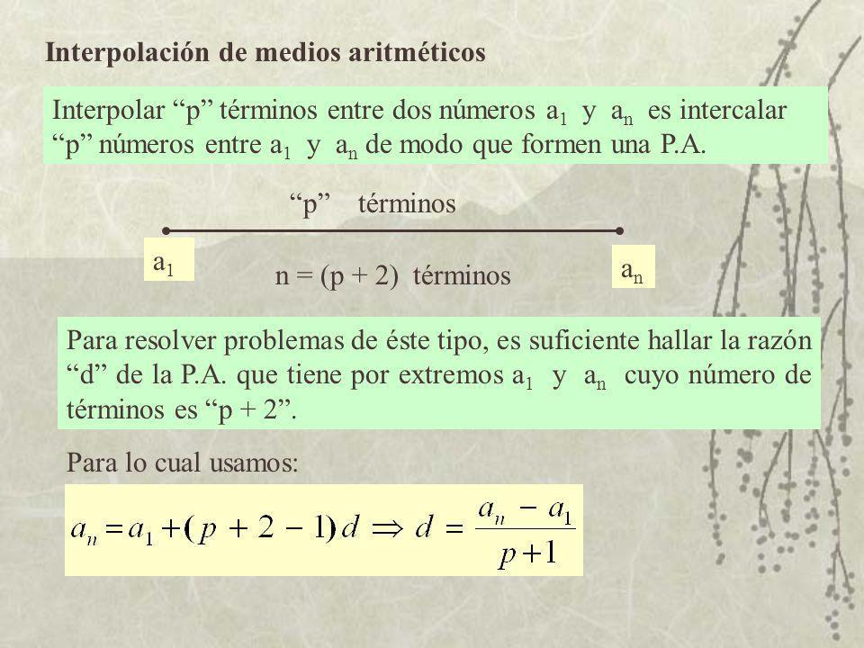 Interpolación de medios aritméticos Interpolar p términos entre dos números a 1 y a n es intercalar p números entre a 1 y an an de modo que formen una