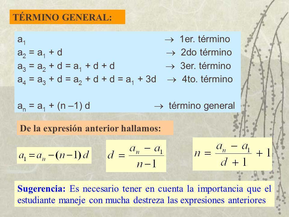 TÉRMINO GENERAL: a 1 1er. término a2 a2 = a1 a1 + d 2do término a3 a3 = a2 a2 + d = a1 a1 + d + d 3er. término a4 a4 = a3 a3 + d = a2 a2 + d + d = a1