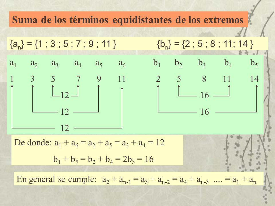 Suma de los términos equidistantes de los extremos {a n } = {1 ; 3 ; 5 ; 7 ; 9 ; 11 } {b n } = {2 ; 5 ; 8 ; 11; 14 } a 1 a 2 a 3 a 4 a 5 a 6 b 1 b 2 b