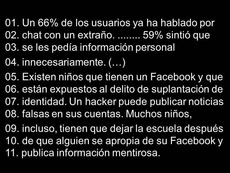 01. Un 66% de los usuarios ya ha hablado por 02. chat con un extraño......... 59% sintió que 03. se les pedía información personal 04. innecesariament