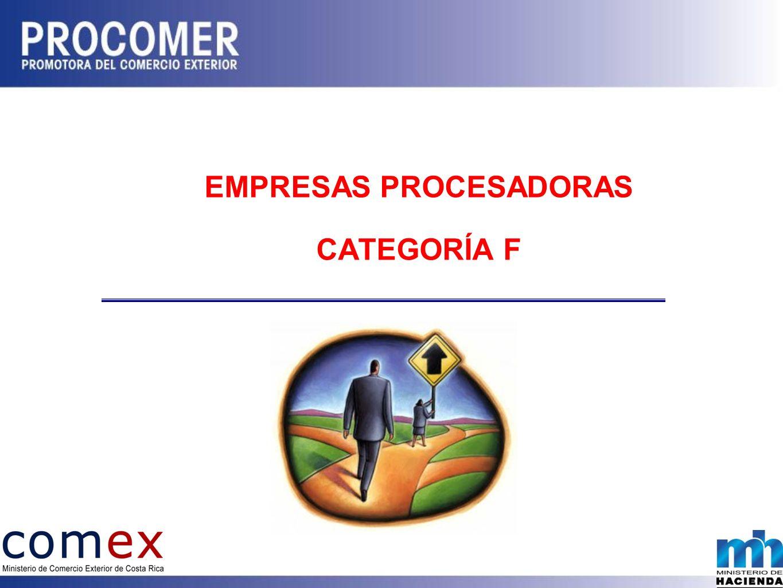 EMPRESAS PROCESADORAS CATEGORÍA F