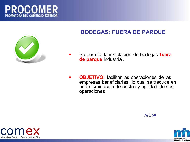 BODEGAS: FUERA DE PARQUE Se permite la instalación de bodegas fuera de parque industrial.
