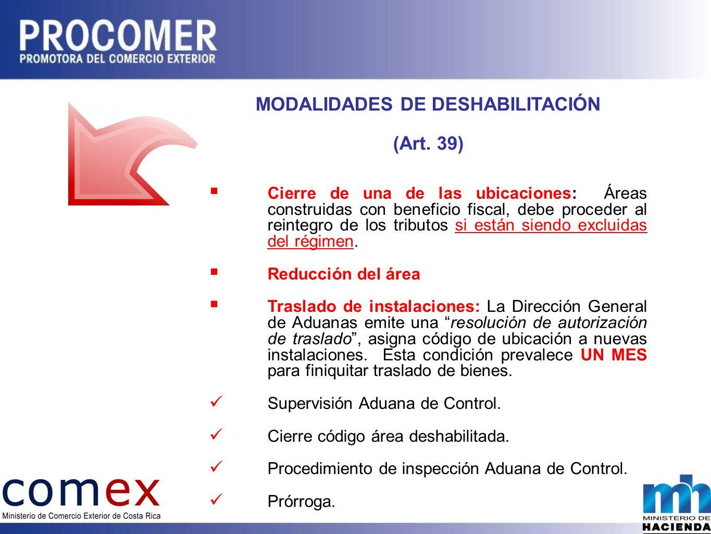 MODALIDADES DE DESHABILITACIÓN (Art.