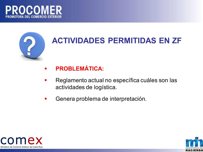 ACTIVIDADES PERMITIDAS EN ZF PROBLEMÁTICA: Reglamento actual no específica cuáles son las actividades de logística.