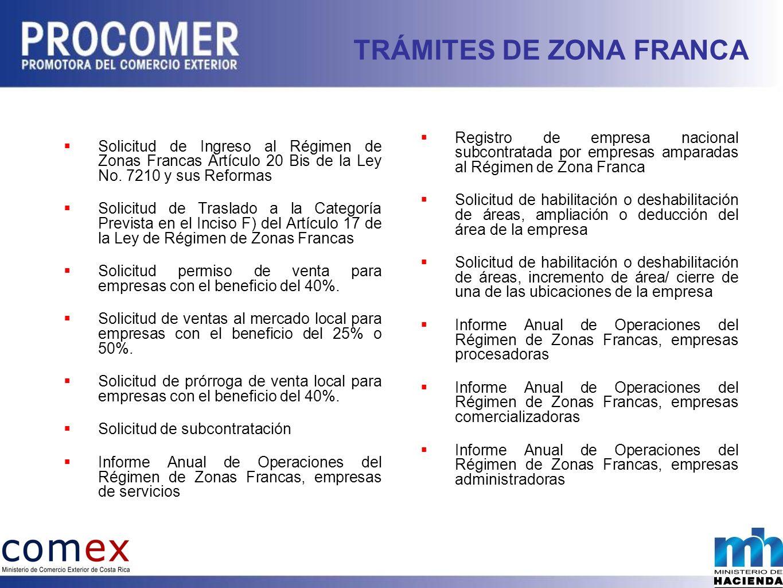 TRÁMITES DE ZONA FRANCA Solicitud de Ingreso al Régimen de Zonas Francas Artículo 20 Bis de la Ley No.