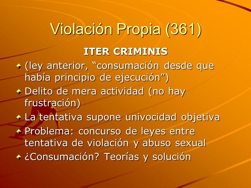 Violación Propia (361) ITER CRIMINIS (ley anterior, consumación desde que había principio de ejecución) Delito de mera actividad (no hay frustración)