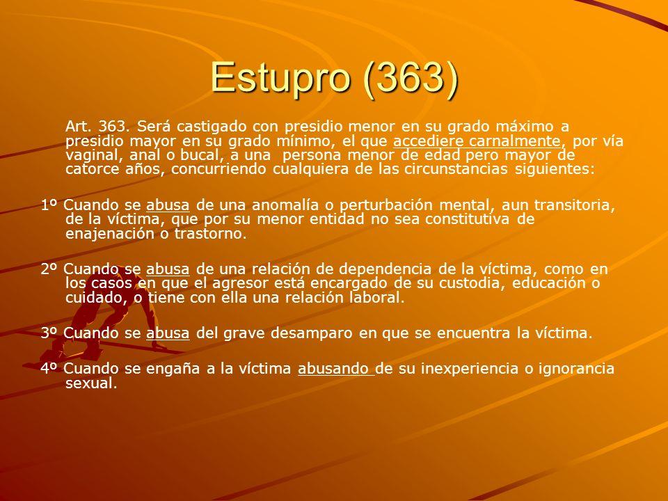 Estupro (363) Art. 363. Será castigado con presidio menor en su grado máximo a presidio mayor en su grado mínimo, el que accediere carnalmente, por ví