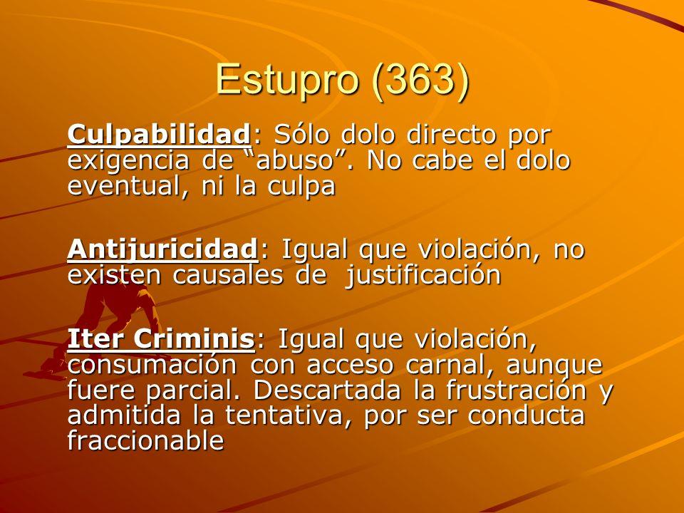 Estupro (363) Culpabilidad: Sólo dolo directo por exigencia de abuso. No cabe el dolo eventual, ni la culpa Antijuricidad: Igual que violación, no exi