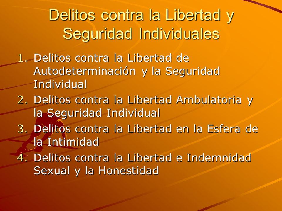 Delitos contra la Libertad y Seguridad Individuales 1.Delitos contra la Libertad de Autodeterminación y la Seguridad Individual 2.Delitos contra la Li