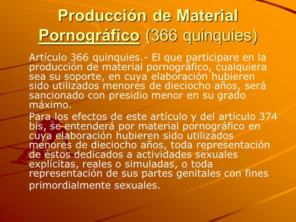 Producción de Material Pornográfico (366 quinquies) Artículo 366 quinquies.- El que participare en la producción de material pornográfico, cualquiera