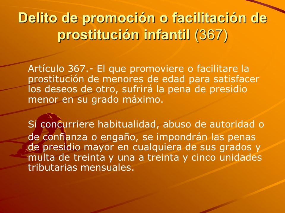 Delito de promoción o facilitación de prostitución infantil (367) Artículo 367.- El que promoviere o facilitare la prostitución de menores de edad par