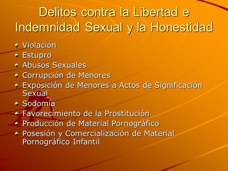 Delitos contra la Libertad e Indemnidad Sexual y la Honestidad ViolaciónEstupro Abusos Sexuales Corrupción de Menores Exposición de Menores a Actos de