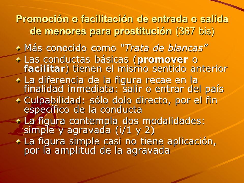 Promoción o facilitación de entrada o salida de menores para prostitución (367 bis) Más conocido como Trata de blancas Las conductas básicas (promover