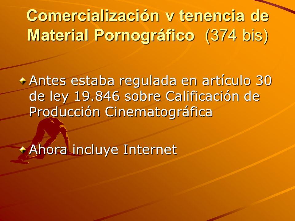Comercialización v tenencia de Material Pornográfico (374 bis) Antes estaba regulada en artículo 30 de ley 19.846 sobre Calificación de Producción Cin