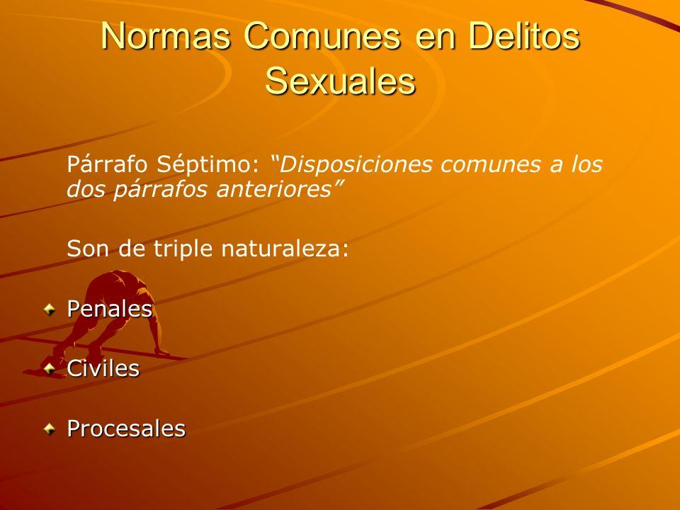 Normas Comunes en Delitos Sexuales Párrafo Séptimo: Disposiciones comunes a los dos párrafos anteriores Son de triple naturaleza:PenalesCivilesProcesa