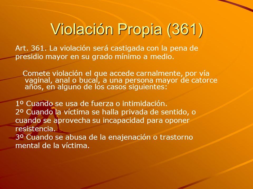 Violación Propia (361) Art. 361. La violación será castigada con la pena de presidio mayor en su grado mínimo a medio. Comete violación el que accede