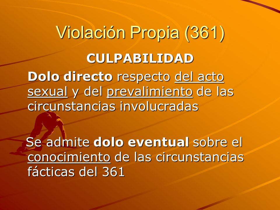 Violación Propia (361) CULPABILIDAD Dolo directo respecto del acto sexual y del prevalimiento de las circunstancias involucradas Se admite dolo eventu