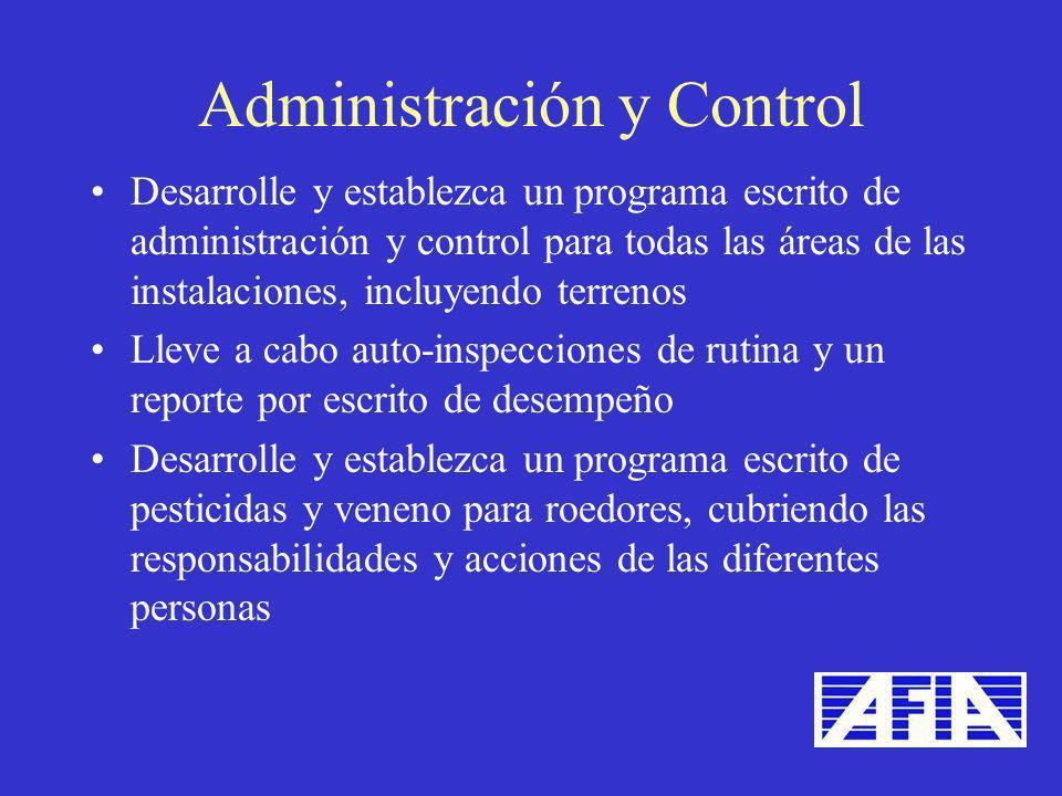 Desarrolle y establezca un programa escrito de administración y control para todas las áreas de las instalaciones, incluyendo terrenos Lleve a cabo au
