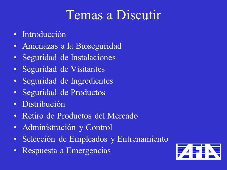 Introducción Amenazas a la Bioseguridad Seguridad de Instalaciones Seguridad de Visitantes Seguridad de Ingredientes Seguridad de Productos Distribuci