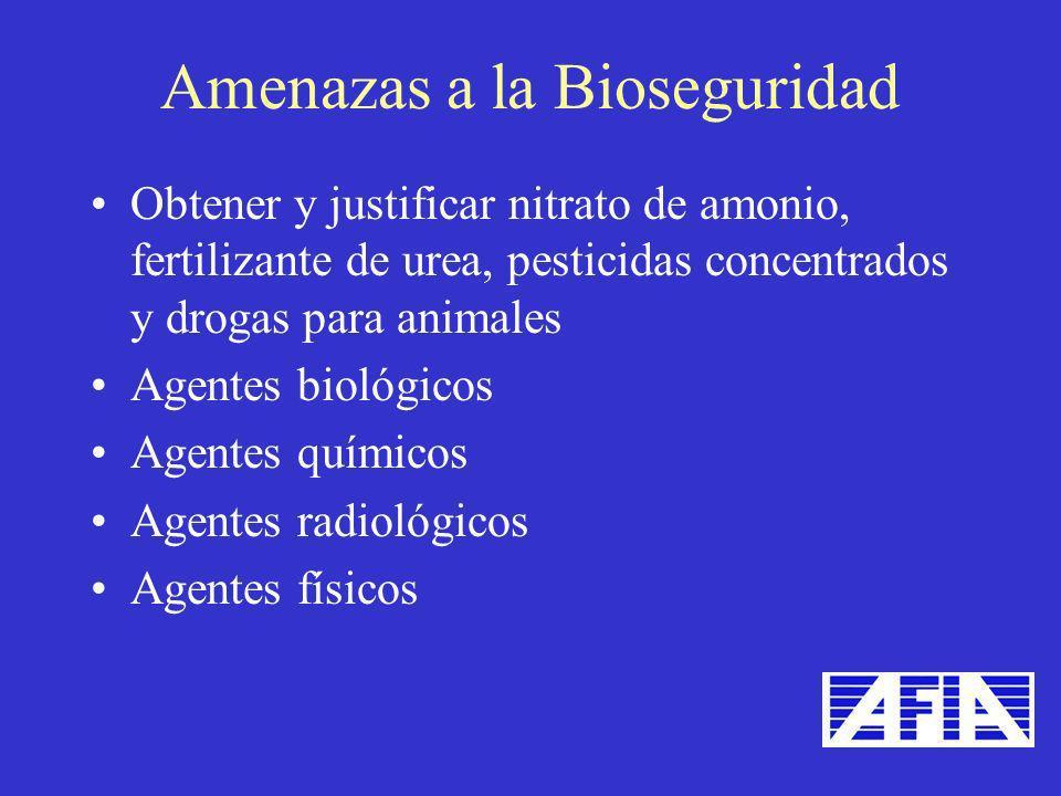 Obtener y justificar nitrato de amonio, fertilizante de urea, pesticidas concentrados y drogas para animales Agentes biológicos Agentes químicos Agent