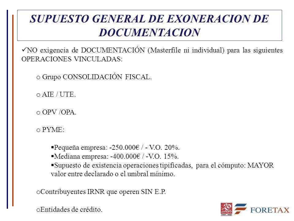 SUPUESTO GENERAL DE EXONERACION DE DOCUMENTACION NO exigencia de DOCUMENTACIÓN (Masterfile ni individual) para las siguientes OPERACIONES VINCULADAS: