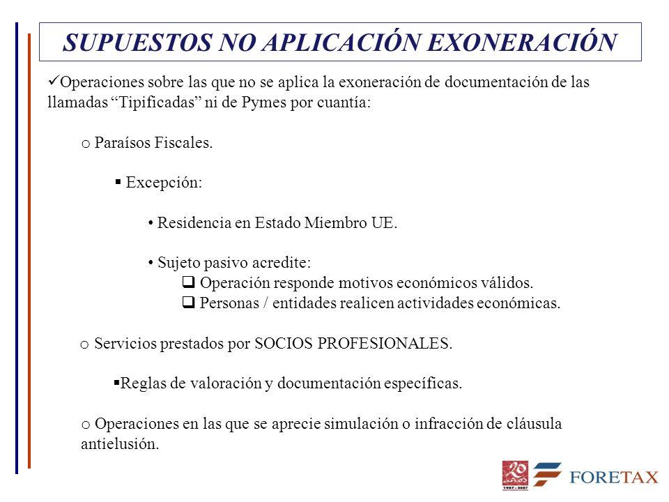 SUPUESTOS NO APLICACIÓN EXONERACIÓN Operaciones sobre las que no se aplica la exoneración de documentación de las llamadas Tipificadas ni de Pymes por