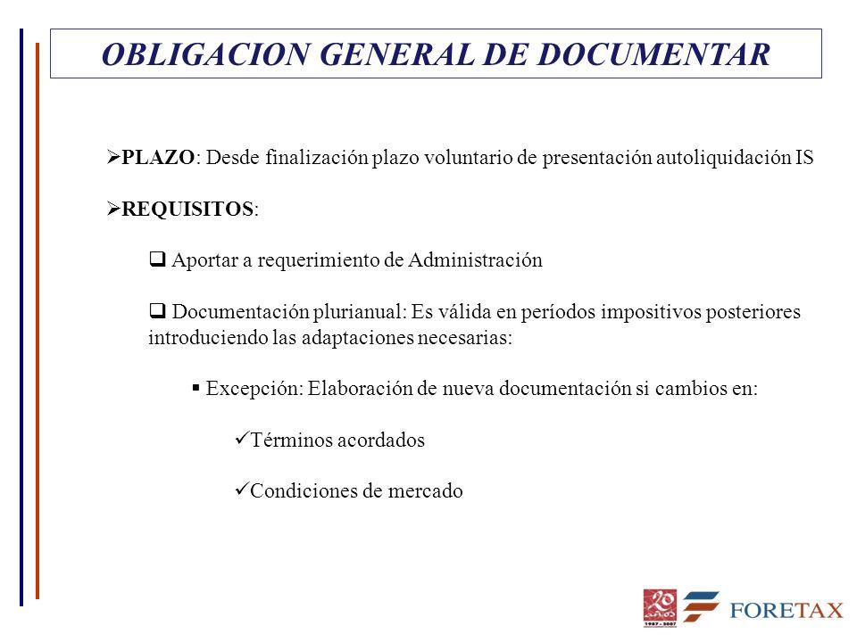 OBLIGACION GENERAL DE DOCUMENTAR PLAZO: Desde finalización plazo voluntario de presentación autoliquidación IS REQUISITOS: Aportar a requerimiento de