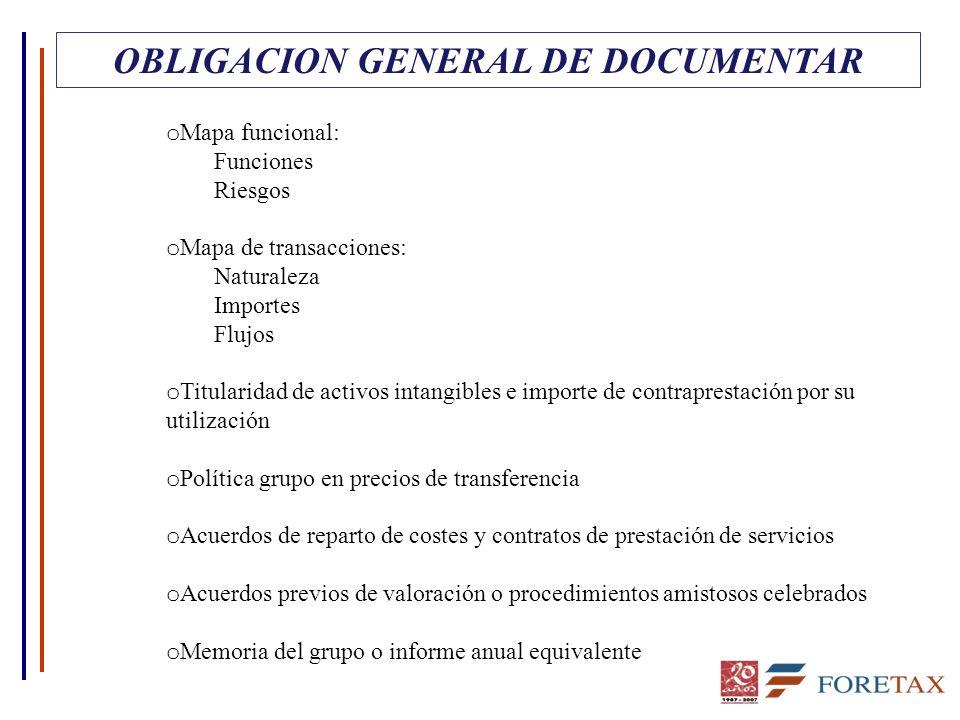 OBLIGACION GENERAL DE DOCUMENTAR o Mapa funcional: Funciones Riesgos o Mapa de transacciones: Naturaleza Importes Flujos o Titularidad de activos inta