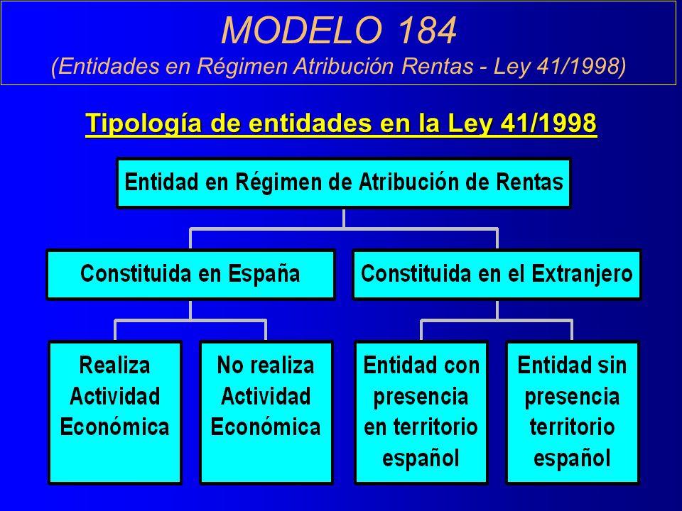 MODELO 184 (Entidades en Régimen Atribución Rentas - Ley 41/1998) Tipología de entidades en la Ley 41/1998