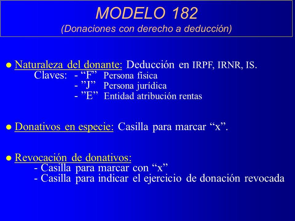 MODELO 182 (Donaciones con derecho a deducción) l Naturaleza del donante: Deducción en IRPF, IRNR, IS.