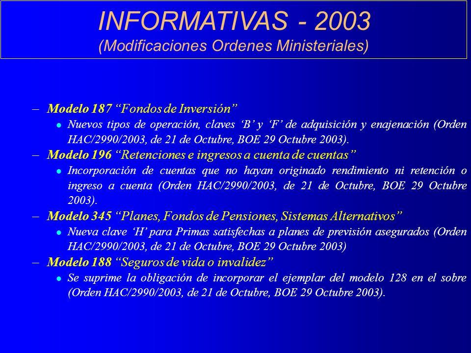 INFORMATIVAS - 2003 (Modificaciones Ordenes Ministeriales) –Modelo 187 Fondos de Inversión l Nuevos tipos de operación, claves B y F de adquisición y enajenación (Orden HAC/2990/2003, de 21 de Octubre, BOE 29 Octubre 2003).