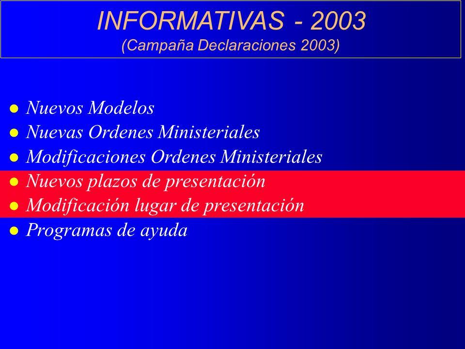 INFORMATIVAS - 2003 (Campaña Declaraciones 2003) l Nuevos Modelos l Nuevas Ordenes Ministeriales l Modificaciones Ordenes Ministeriales l Nuevos plazos de presentación l Modificación lugar de presentación l Programas de ayuda