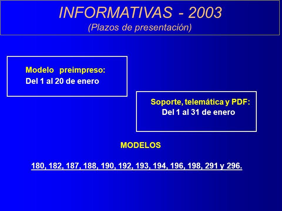 INFORMATIVAS - 2003 (Plazos de presentación) Modelo preimpreso: Del 1 al 20 de enero Soporte, telemática y PDF: Del 1 al 31 de enero MODELOS 180, 182, 187, 188, 190, 192, 193, 194, 196, 198, 291 y 296.