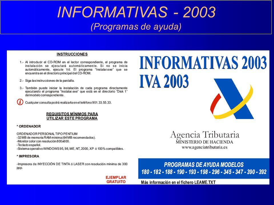 INFORMATIVAS - 2003 (Programas de ayuda)