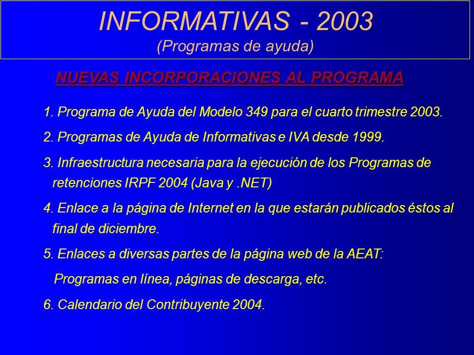 INFORMATIVAS - 2003 (Programas de ayuda) NUEVAS INCORPORACIONES AL PROGRAMA 1.