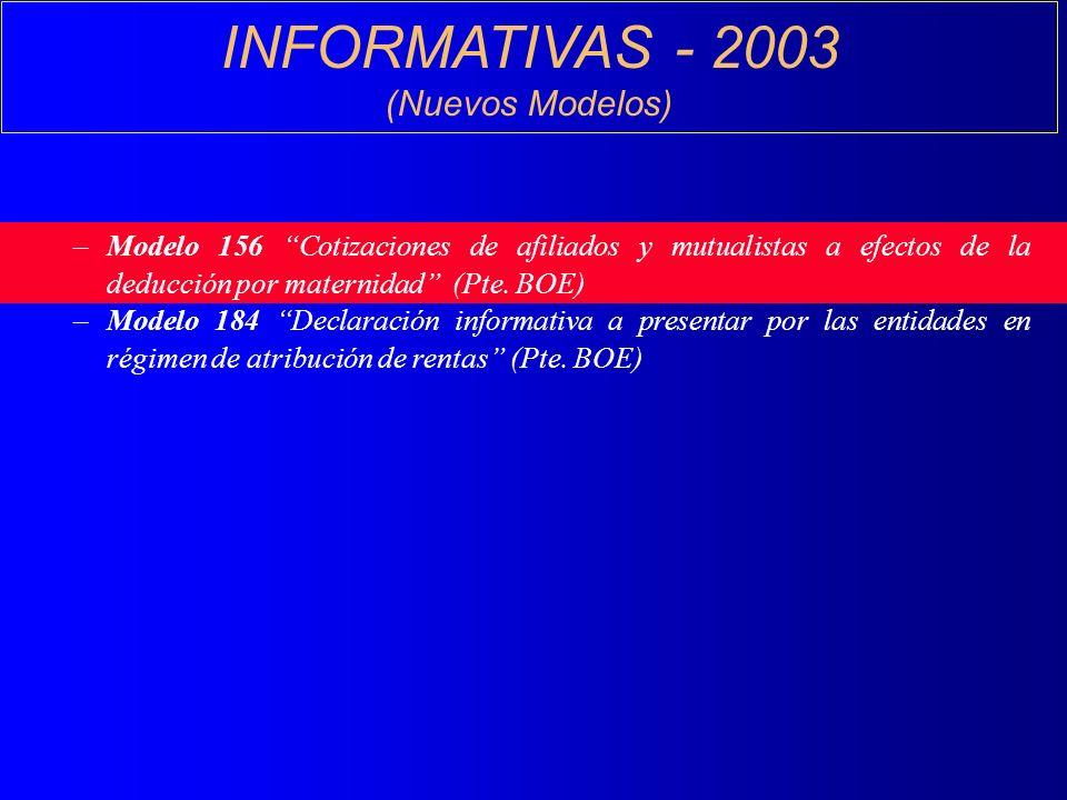 INFORMATIVAS - 2003 (Nuevos Modelos) –Modelo 156 Cotizaciones de afiliados y mutualistas a efectos de la deducción por maternidad (Pte.