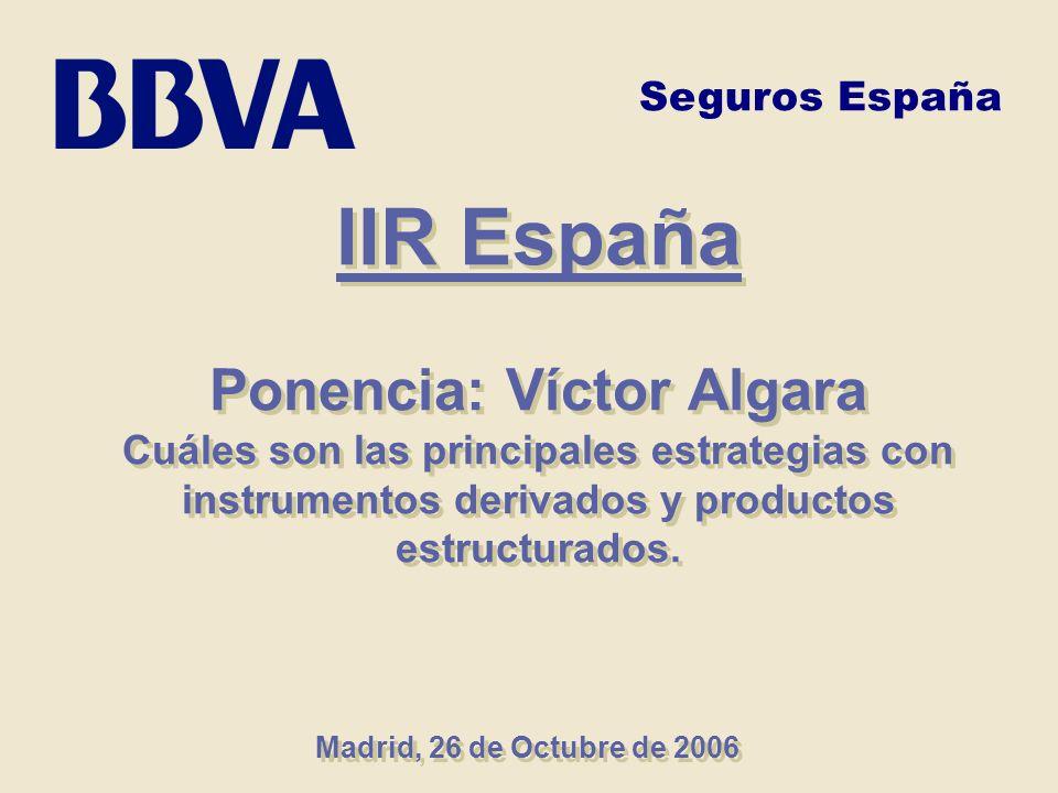 IIR España Ponencia: Víctor Algara Cuáles son las principales estrategias con instrumentos derivados y productos estructurados. IIR España Ponencia: V