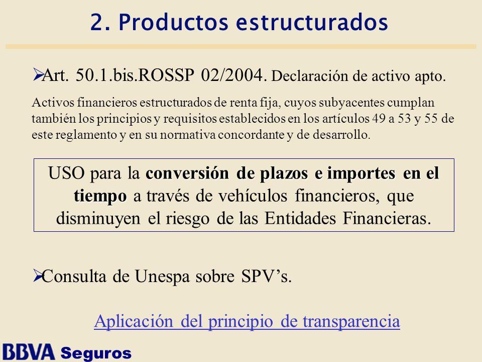 Seguros 2. Productos estructurados Art. 50.1.bis.ROSSP 02/2004. Declaración de activo apto. Activos financieros estructurados de renta fija, cuyos sub